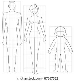 Drawing circuit man, woman and child body, vector illustration.