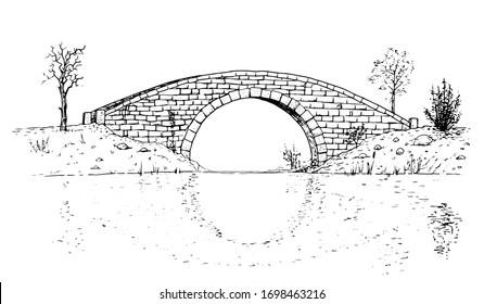 Drawing of classic stone bridge - black and white illustration