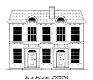 Drawing of classic terrace house - black and white illustration