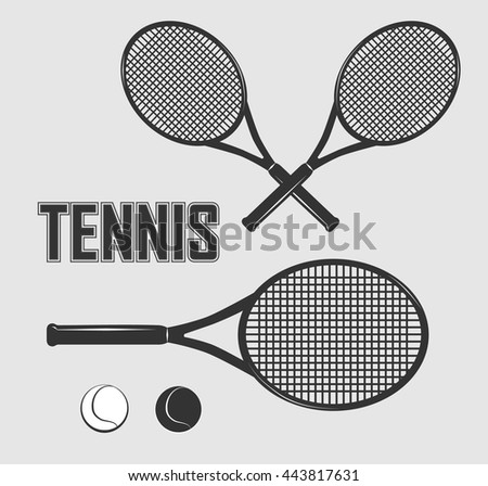 Drawing Clipart Tennis Silhouettes Vector Background Stock Vector