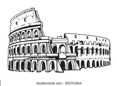 Drawing of Coliseum, Colosseum illustration in Rome, Italy. Vector black and white illustration