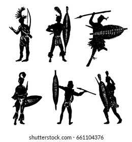 drawing collection of silhouettes of African tribal warriors in the battle suit and arms sketch hand drawn vector illustration