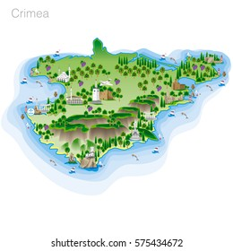 Drawing of color Crimea tourist map. Vector illustration