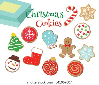 Drawing of colorful Christmas cookies isolated in white.
