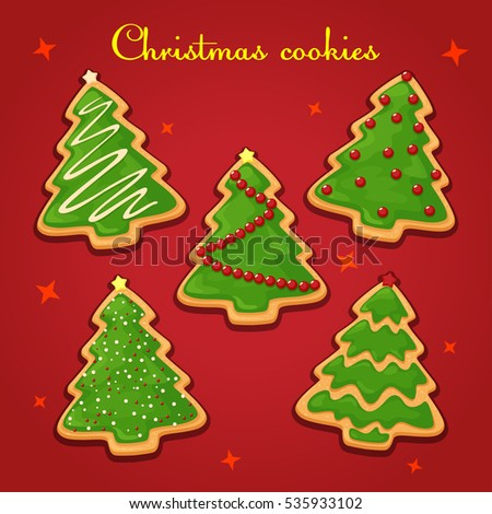 Drawing Colorful Christmas Cookies Isolated Red Gingerbread Stock