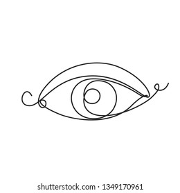 Drawing a continuous line. Eye on white isolated background. Linear style