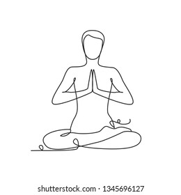 Drawing a continuous line. Yoga position on white isolated background. Linear style