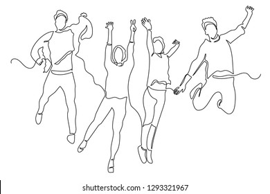 Drawing a continuous line of young people jumping from happiness. The concept of joy, pleasure, success in business. Victory. Company `s logo.