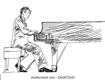 Drawing contour of piano player. Pianist sitting at the grand piano. Classical musician silhouette. Black lines on white background. Vector musical illustration.