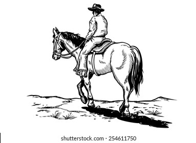 Drawing of cowboy riding horse, vector