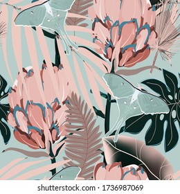 Drawing of a cream pink protea flower in pale palm leaves on a light blue, grey color background. Seamless vector floral pattern. Simple square repeating design for fabric and wallpaper.