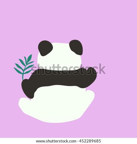 Drawing Cute Baby Panda Bamboo Green Stock Vector Royalty Free