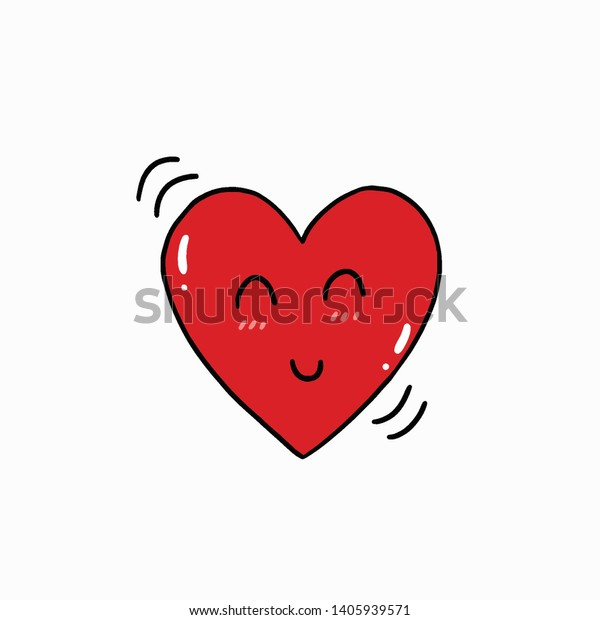Drawing Cute Cartoon Heart Doodle Stylevector Stock Vector Royalty Free 1405939571