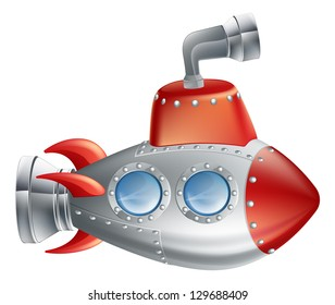 An drawing of a cute cartoon submarine in childrens illustration style.
