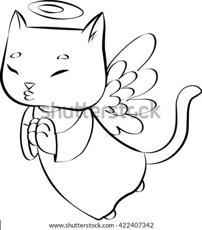 drawing cute kitten guardian angel stock vector royalty free