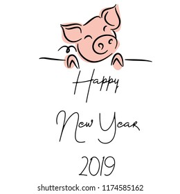 drawing of cute pig vector illustration simple concept zodiac of pig.Happy New Year 2019