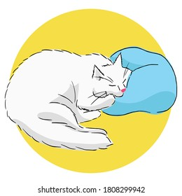 Drawing of a cute white sleeping cat lying with its cheek on the pillow. Color illustration of an animal with simple shadows on a yellow background. Realistic image. Linear drawing with color fill