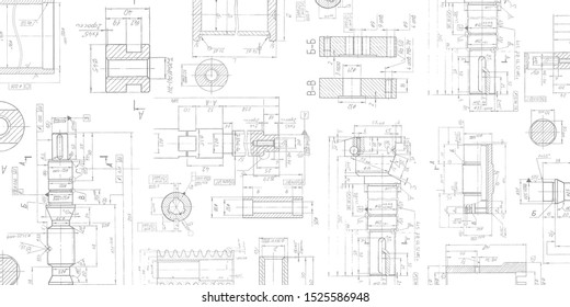 Drawing details on a white background .Mechanical Engineering drawing .Parts for industrial construction.