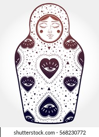 The drawing is done in stylization of a nesting doll. The matrioshka doll has pattern of the All-seeing eye on her body. Boho, tattoo art, poster design,chemistry, science, magic. Vector Isolated.