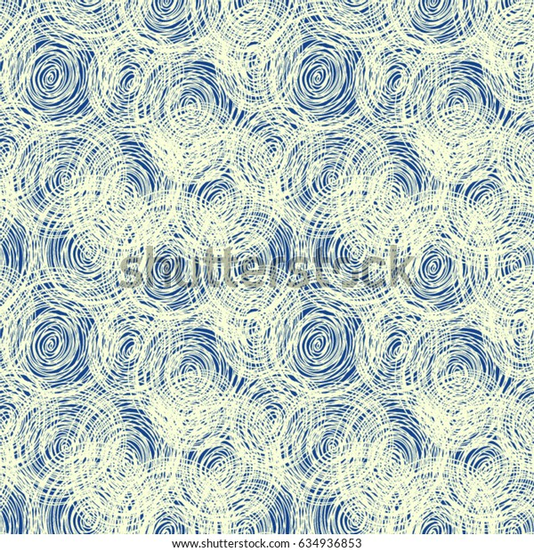 Drawing Doodle. Abstract seamless pattern for denim. Sketch art. The effect of Shibori silk. Scribble ink pen.