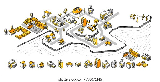 Drawing Doodle Isometric Building Set in Unique Black and yellow style.