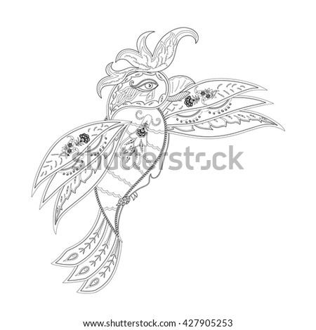 Drawing Doodle Parrot Coloring Page Shirt Stock Vector (Royalty Free ...