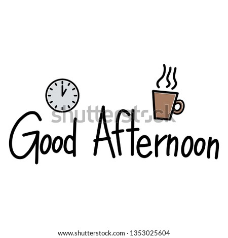 Drawing Doodle Text Analog Clock Cup Stock Vector Royalty Free