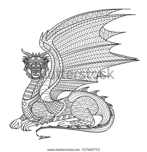 - Drawing Dragon Coloring Book Stock Vector (Royalty Free) 317664713