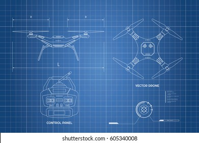 Blueprint vector images stock photos vectors shutterstock industrial blueprint the control panel front top view vector malvernweather Images