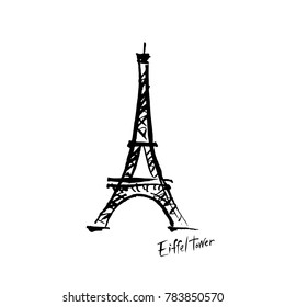 Drawing of the Eiffel Tower with ink.