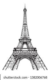 Drawing Eiffel tower, Paris France, Tour Eiffel ,aesthetic