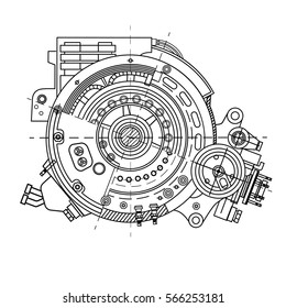 Drawing the electric motor section representing the internal structure and mechanisms. It can be used to illustrate the ideas related to science, engineering design and high-tech.