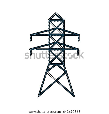 Drawing Electricity Tower Distribution Energy Light Stock Vector