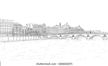 drawing of the embankment of the Seine and the bridge in Paris