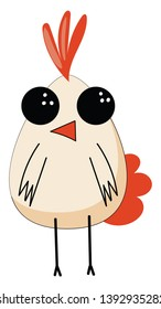 Drawing of the emoji of a cute little white chick with red crown  beak  and tail looks happy while standing with its stick-like black feet  vector  color drawing or illustration