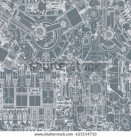 drawing engine seamless pattern background seamless のベクター画像