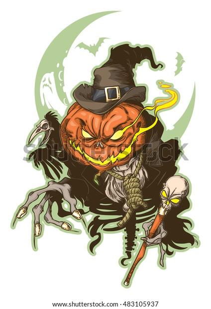 Drawing of evil Pumpkin-head