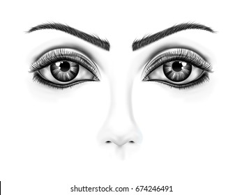Drawing of eye close-up with black and white background , Cut of contact eye on the face , Hand painted fashion illustration