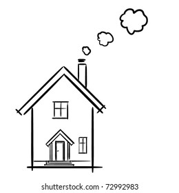 The drawing of a facade of the house. A children's sketch. House cartoon