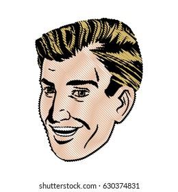 drawing face man pop art design