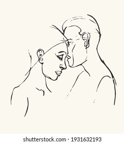 Drawing of faces man and woman. Drawing couple. Vector illustration