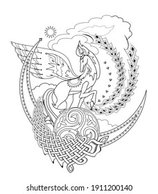 Drawing of fairy tale horse with ethnic decoration. Ancient legend illustration. Black and white page for coloring book. Print for fabric, logo, tattoo. Sheet for drawing and meditation.