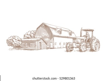 Drawing of farm buildings and tractor on the white