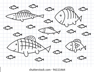 Drawing of fish on squared paper