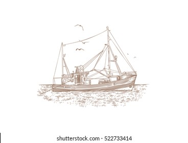 Drawing of fishing trawler at the sea