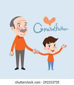 Drawing flat character design grand father and son concept ,vector illustration