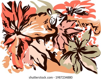 Drawing floral abstract and minimalist perfect for textiles