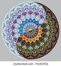 Drawing of a floral lace mandala, round ethnic ornament in shape of symbol yin yang
