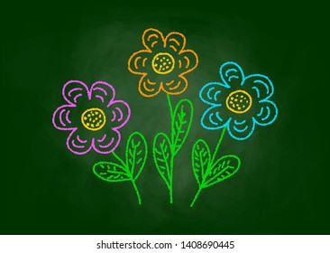 Drawing of flowers on blackboard