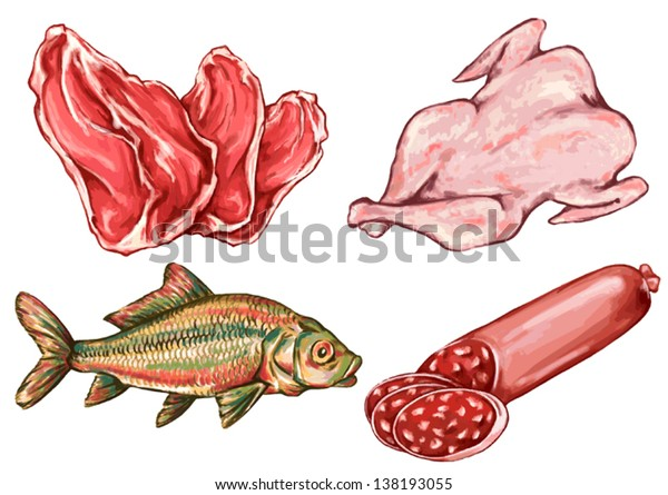 Drawing Food Nutrition Diet Animal Foodstuff Stock Vector Royalty Free 138193055
